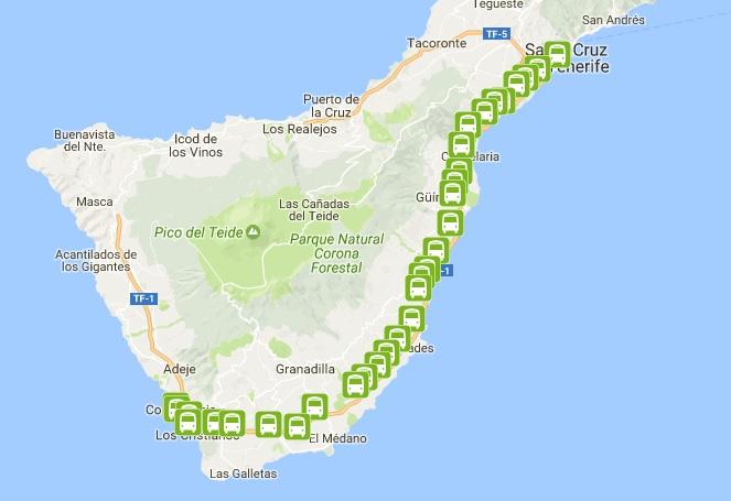 111 autobuso Tenerifėje maršrutas